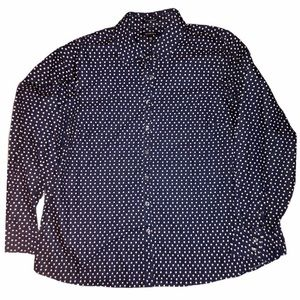 Land's End No Iron Supima Cotton Blue/Dots Blouse